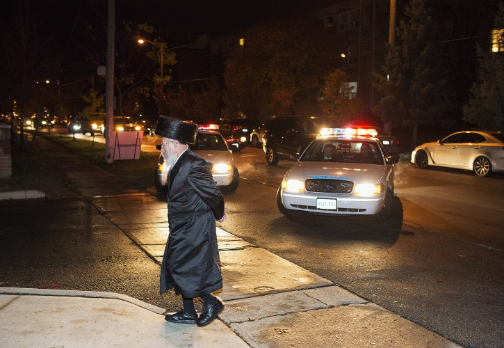 The Funeral procession for Toronto real estate mogul Paul Reichmann arrives at the Bais Yaakov Girls School in Toronto on Saturday October 26, 2013.(Photo by Aaron Vincent Elkaim/VINnews.com)
