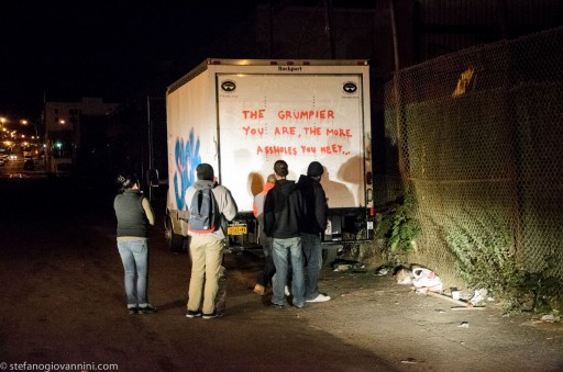 (Box truck belonging to I and A Merchandising in Sunset Park with Banksy graffiti (Stefano Giovannini )