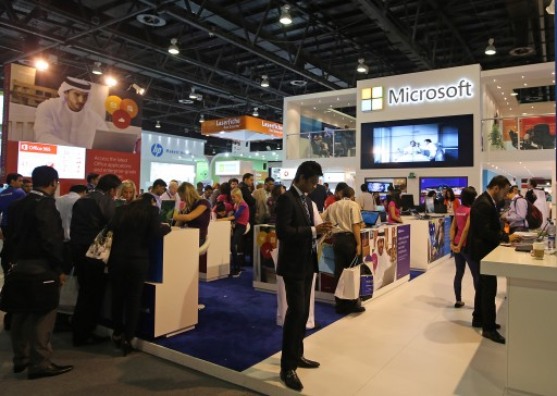 FILE - Visitors inspect Microsoft section at Gulf Information Technology Exhibition (GITEX) exhibition 2013 in Gulf emirate of Dubai, United Arab Emirates on 21 October 2013. EPA/ALI HAIDER