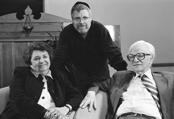 In this December 8th, 1995, Musicologist Chana Mlotek (left) with son Zalmen and husband Joseph (Yosl). An expert on Yiddish song, Chana Mlotek served as the music archivist at the YIVO Institute for Jewish Research in New York. Zalmen is heavily involved with contemporary Yiddish theater, and was a key consultant in the Milken Archive's Yiddish theater project.(milkenarchive.org).