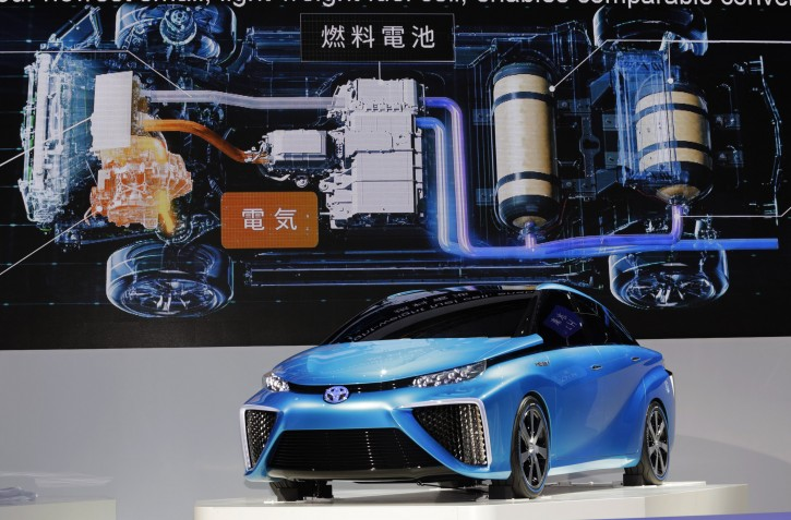 A Toyota FCV concept car is displayed at the media preview for the Tokyo Motor Show at the Tokyo Big Sight convention hall in Tokyo, Wednesday, Nov. 20, 2013. The biannual exhibition of vehicles in Japan runs for the public from Saturday, Nov. 23 through Dec. 1. (AP Photo/Shizuo Kambayashi)