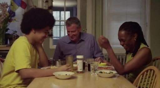 FILE - New York City Democratic mayoral candidate Bill de Blasio with his son, Dante de Blasio, and wife, Chirlane McCray.  (billdeblasio.com)