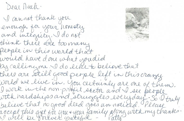 The Thank you note Rabbi Muroff received from the desk seller