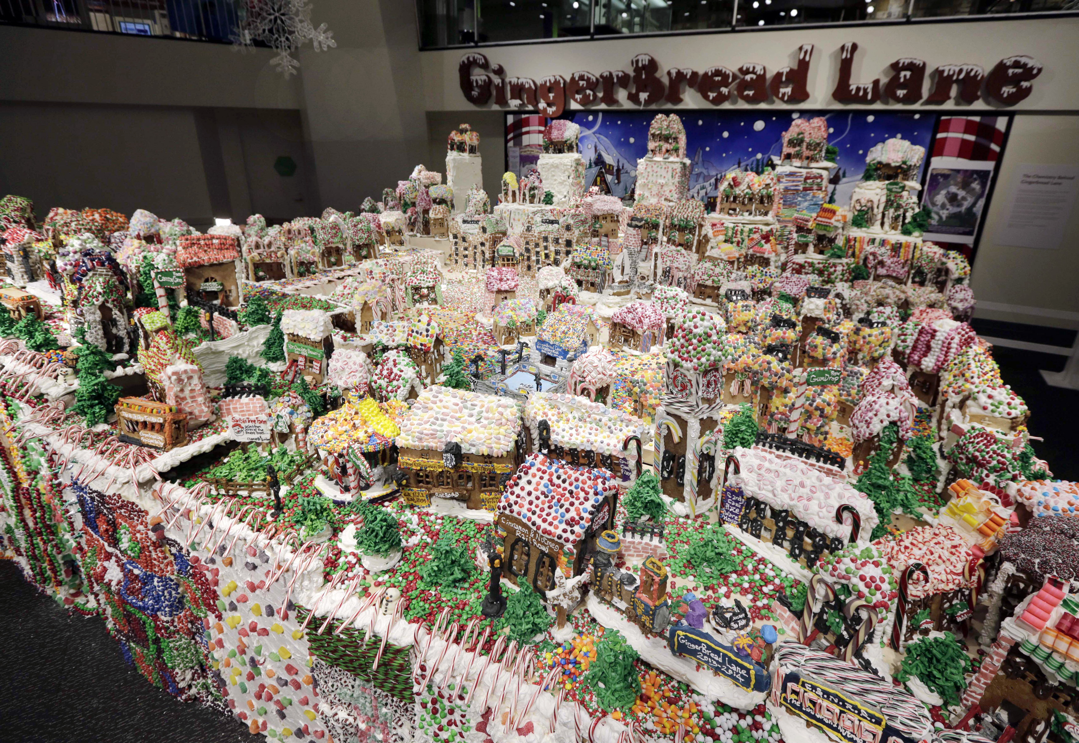 gingerbread lane created by chef jon lovitch is on display in the new york