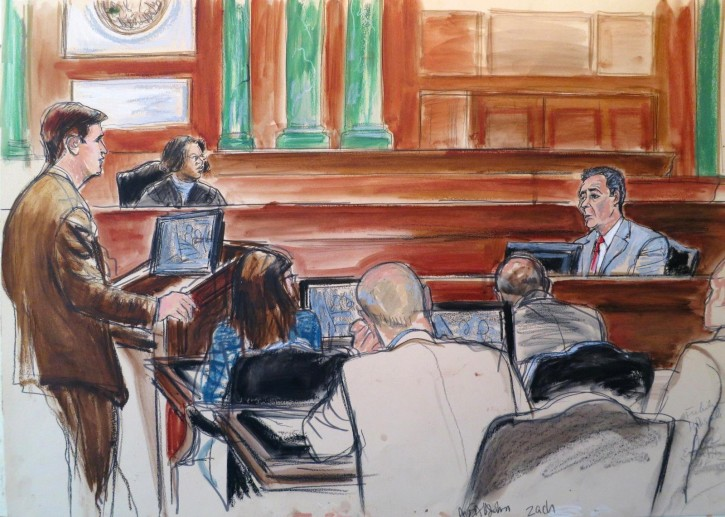 In this courtroom drawing, Frank DiPascali, right, a longtime employee of Bernard Madoff, takes the stand in Manhattan Federal Court. (AP Photo/Elizabeth Williams)