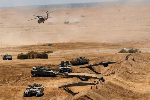 FILE - Handout picture released on 06 June 2007 by the Israeli Defence Forces (IDF) shows a large scale military exercise carried out on 05 May 2007 in the Negev Desert near Shizafon, Israel. EPA