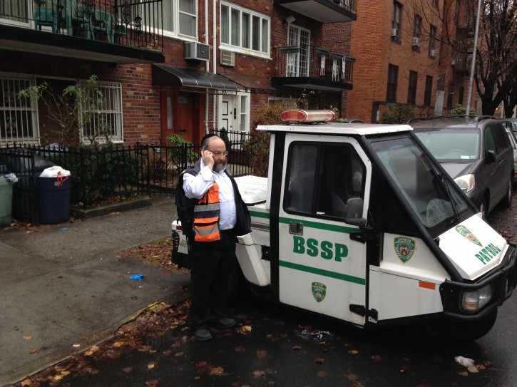 Shomrim coordinator Yanky Daskal in front of his home in Borough Park, Dec. 9, 2013 (Arya Rabinovitz/VINnews.com)