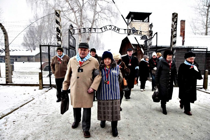 Holocaust survivors arrive for a ceremony to mark the 69th anniversary of the liberation of Auschwitz concentration camp in Poland and to remember its victims. (Kacper Pempel/Reuters)