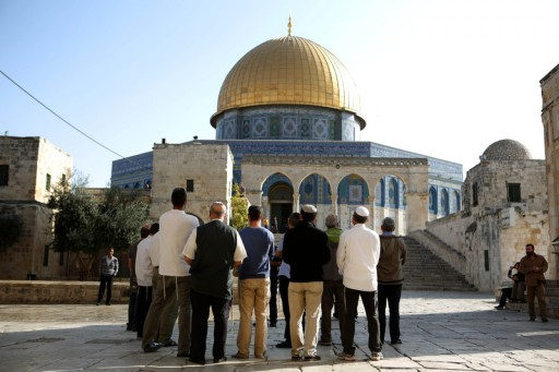 File photo of a group of right wing Israelis seen inside the Temple Mount compound with the dome of the rock (on background) in the Old City of Jerusalem. EPA/ABIR SULTAN