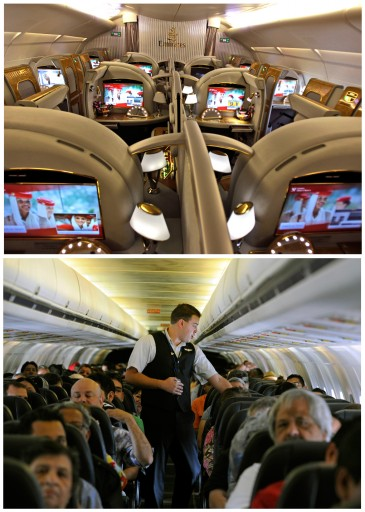 This combination of Associated Press file photos show, on top, the first class section of an Emirates airlines Airbus A380, and on the bottom, Allegiant Air flight attendant Chris Killian preparing his passengers for the Laredo, Tex, bound flight before it pushes back from the terminal. (AP Photo/File)