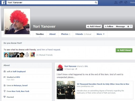Facebook page from Yori Yanover shows the headline link titled '50 Thousand Haredim March So Only Other Jews Die in War' that he posted on the Jewish press, The article has since been removed from the online Jewish press, and the JP has fired Yori