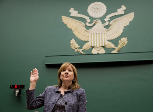 General Motors CEO Mary Barra is sworn in on Capitol Hill in Washington, Tuesday, April 1, 2014, prior to testifying before the House Energy and Commerce subcommittee on Oversight and Investigation. (AP Photo/Evan Vucci)