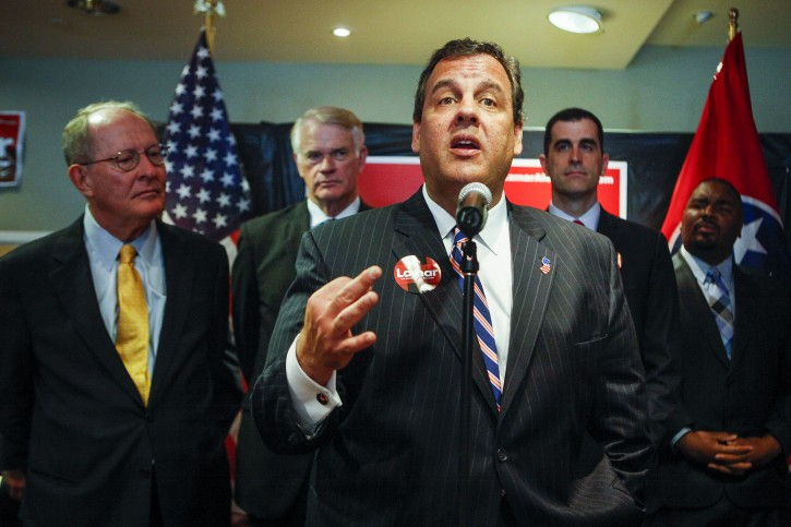 New Jersey Gov. Chris Christie speaks during the opening of Sen. Lamar Alexander's, left, re-election campaign headquarters Friday, May 30, 2014, in Memphis, Tenn. (AP Photo/The Commercial Appeal, William DeShazer)