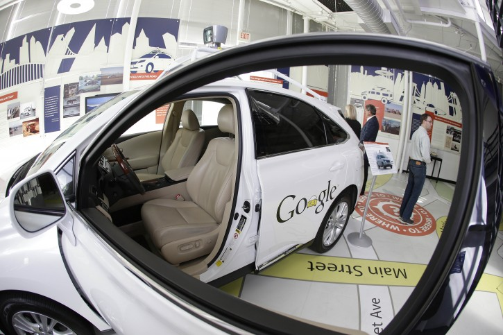 In this photo taken Wednesday, May 14, 2014, a Google self-driving car is shown in an exhibit at the Computer History Museum in Mountain View, Calif. Four years ago, the Google team developing cars which can drive themselves became convinced that, sooner than later, the technology would be ready for the masses. There was just one problem: Driverless cars almost certainly were illegal.(AP Photo/Eric Risberg)