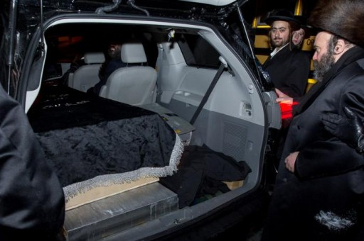 FILE - The casket holding the body of Menachem Stark is seen at the funeral in Williamsburg section of Brooklyn, NY Saturday night Jan. 4, 2013 (Shmuel Lenchevsky/VINnews.com)
