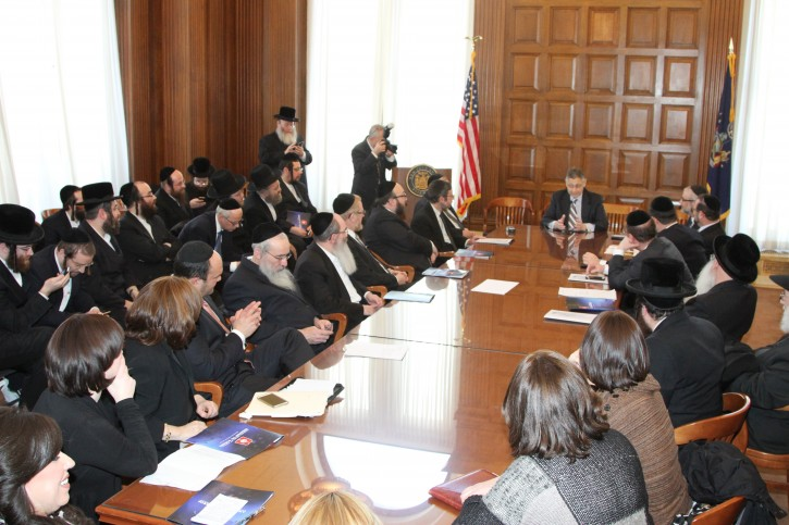Members of Agudath Israel of America In Albany meeting with Assembly speaker Shelly Sliver about the Special education bill, on June 18, 2014.
