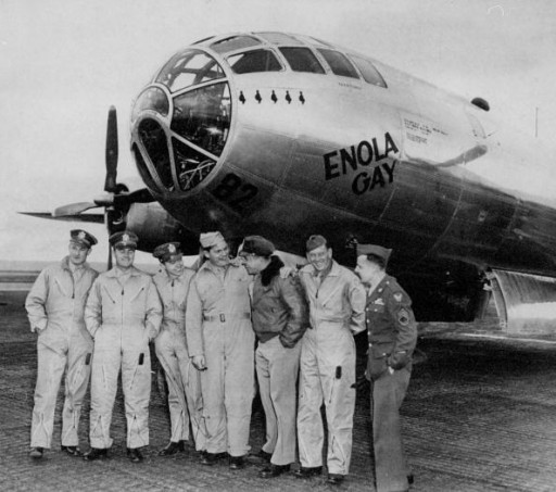 FILE - Crew of the Enola Gay, the infamous B-29 plane from which the first atom bomb was dropped on Apr. 06, 1946. (Left to right) Major Thomas W. Ferebee, Col. Paul W. Tibbetts Jr., Major Theodore J. Van Kirk, Capt. Kermit Beahan, Capt. Robert Lewis, Sergt. Wyatt E. Duzenbury and Sergt. George Caron.  (Photo by Art Edger/NY Daily News Archive via Getty Images)
