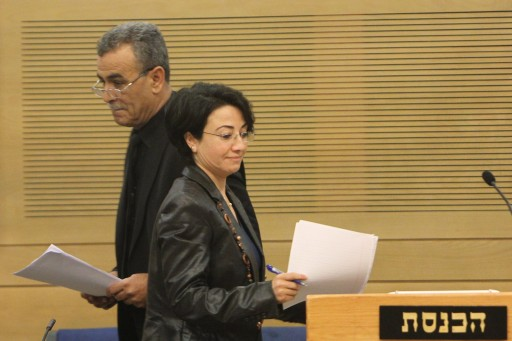FILE - Arab parliament member Hanin Zoabi holds a press conference at the Israeli parliament on December 19, 2012. Photo by Miriam Alster/FLASh90