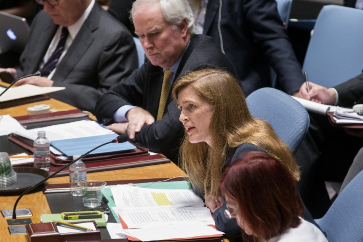 In this Friday, July 18, 2014 photo, United States U.N. Ambassador Samantha Power speaks during a U.N. Security Council meeting at United Nations headquarters. One day after a passenger jet was shot out of the sky, Samantha Power took her seat at the United Nations Security Council and angrily began building the Obama administration's case against separatists in eastern Ukraine and their Russian benefactors.  (AP Photo/John Minchillo)