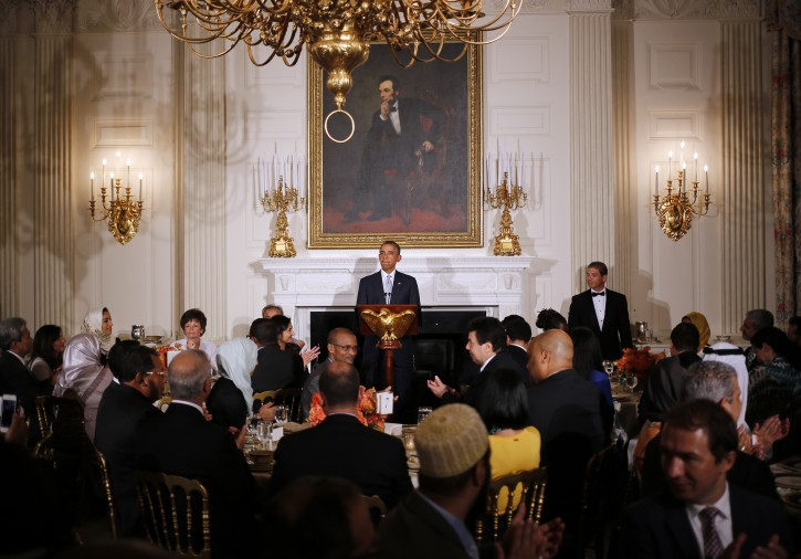 President Barack Obama speaks as he hosts an Iftar dinner, which celebrates the breaking of fast during the Muslim holy month of Ramadan in the State Dining Room at the White House in Washington, Monday, July 14, 2014. Obama also made comments about Syria and the Israel and Palestinian conflict. (AP Photo/Charles Dharapak)