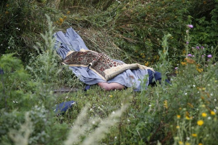 VISUAL COVERAGE OF SCENES OF INJURY OR DEATH  A rug covers the body of a passenger of a Malaysian Airlines Boeing 777 plane which was downed on Thursday near the village of Rozsypne, in the Donetsk region July 18, 2014.  Reuters