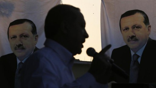 FILE - Turkey's Prime Minister and presidential candidate Tayyip Erdogan speaks during an election rally in Diyarbakir, southeast Turkey, July 26, 2014.  Reuters