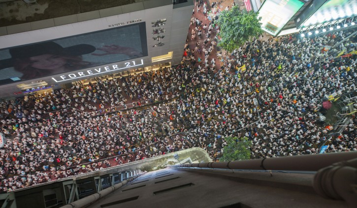 A elevated view overlooking the thousands taking part in a demonstration in Hong Kong on what is now an annual anti-Hong Kong government protest rally, Hong Kong, China, 01 July 2014.  EPA/ALEX HOFFORD