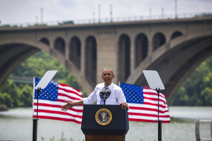 US President Barack Obama speaks in front of the Key Bridge at Georgetown Waterfront Park to call on Congress to renew the Highway Trust Fund in Washington DC, USA, 01 July 2014.  EPA/JIM LO SCALZO