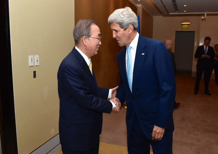 A handout picture dated 24 July 2014 and provided by the US Department of State shows US Secretary of State John Kerry (R) and United Nations Secretary-General Ban Ki-moon shaking hands in Cairo, Egypt, 24 July 2014, before they sat down to discuss regional and international efforts to create a cease-fire between Israeli and Hamas forces in the Gaza Strip. According to media reports on 25 July, Israel rejected a ceasefire proposal as put forward by Kerry.  EPA/US DEPARTMENT OF STATE / HANDOUT