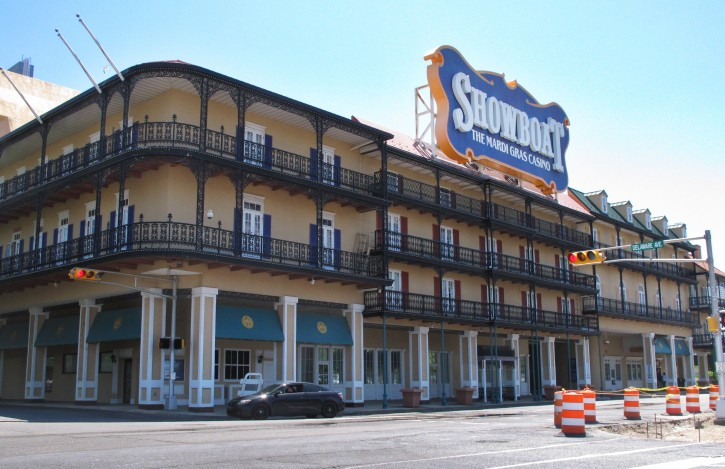 This June 27, 2014 photo shows the exterior of the Showboat Casino Hotel in Atlantic City, N.J. The Showboat will close on Sunday Aug. 31, 2014. (AP Photo/Wayne Parry)