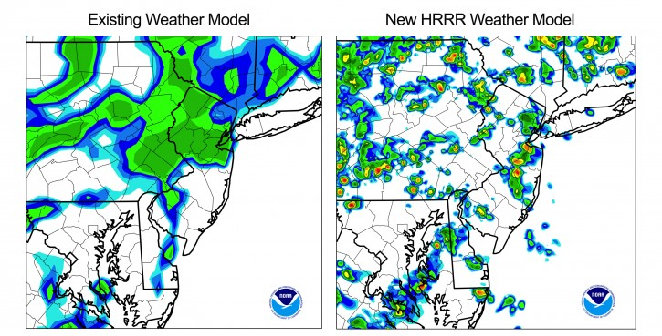 These handout images provided by NOAA shows a comparison of two weather forecast models for the New Jersey area. At left shows the forecast that doesn't distinguish local hazardous weather.  AP