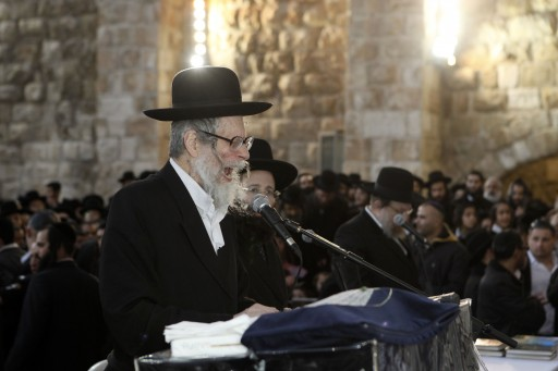 FILE - Rabbi Eliezer Berland, one of the leaders of the Breslov hassidic movement,  participant in a mass prayer at the Western Wall, Jerusalem. Jan. 25, 2012. Photo by Uri Lenz/FLASH90