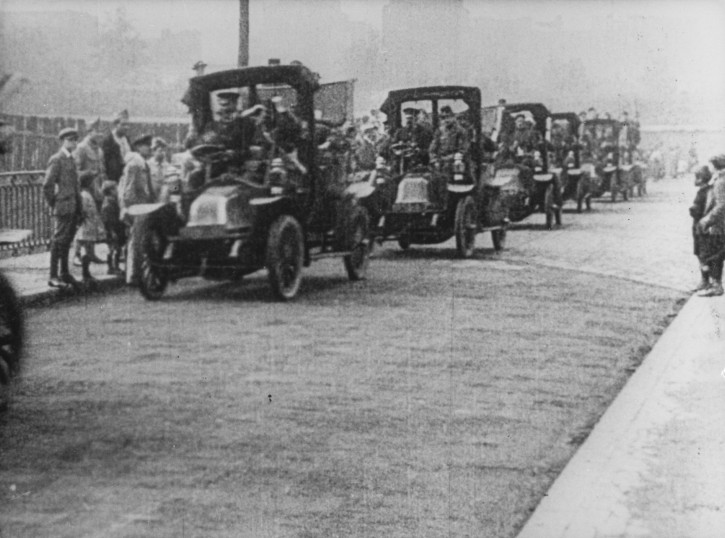 FILE - In this Sept. 7, 1914 file photo provided by French car manufacturer Renault, a Renault Type AG1, known as Taxis de la Marne, line up in France. The Renault Taxi de la Marne (Marne Taxi) is an automobile manufactured between 1905 and 1910 by Renault and was used as a taxicab. The name Taxi de la Marne was not used until the outbreak of World War I, when the fleet of Paris taxis was requisitioned by the French Army to transport troops from Paris to the First Battle of the Marne in early September 1914. (AP Photo/Renault, File)