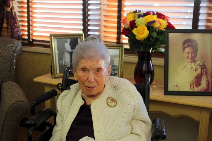 114 year old Goldie Steinberg, photos of her younger years are picuted behind her. Credits: Roy Renna / BMR Breaking News