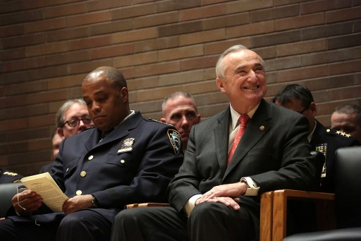 FILE - Commissioner Bill Bratton and Former Chief Philip Banks at NYPD Promotion Ceremony at One Police Plaza on Friday, February 28, 2014. Credit: Ed Reed for the Office of Mayor Bill de Blasio
