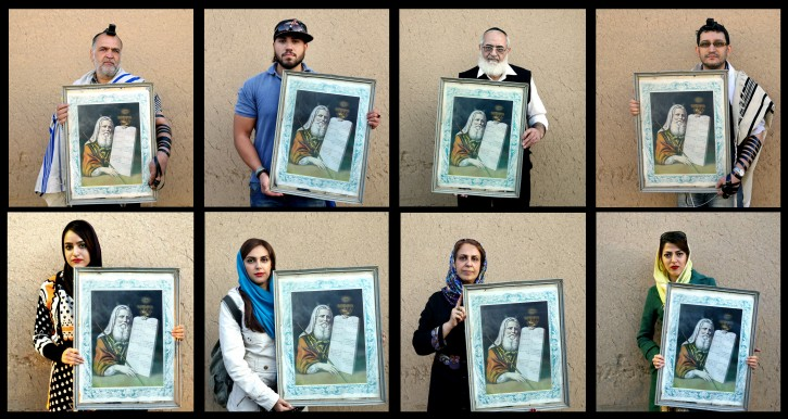 "In this Nov, 2014 combo image made up of 8 photos, Iranian Jews pose for photographs holding a painting of Moses with ""The Ten Commandments,"" after prayers at the Molla Agha Baba Synagogue, in the city of Yazd 420 miles (676 kilometers) south of capital Tehran. (AP Photo/Ebrahim Noroozi)"