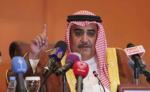 FILE - Bahrain's Foreign Minister Sheikh Khaled bin Ahmed al-Khalifa addresses a news conference. Reuters
