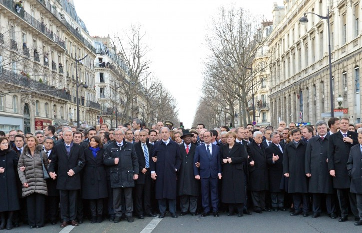 Prime Minister Benjamin Netanyahu Marches with World Leaders in Paris - March Against Terrorism
