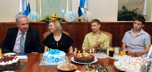 File: Yair and Avner Netanyahu, the sons of Israeli Prime Minister Benjamin Netanyahu (L) as he celebrates his birthday with wife Sarah (2-L). EPA/AVI OHAYON/GPO