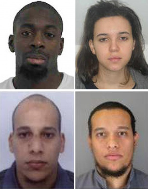 A composite image of four handout pictures released by French Police in Paris on 09 January 2015 shows Amedy Coulibaly (top L) and Hayat Boumeddiene (top R), suspects in connection with the shooting attack on 08 January 2015 in Montrouge, France, and undated handout pictures released by French Police in Paris early 08 January 2015 showing Cherif Kouachi, 32, (L) and his brother Said Kouachi, 34, (R) suspected in connection with the shooting attack at the satirical French magazine Charlie Hebdo headquarters in Paris, France, 07 January 2015.