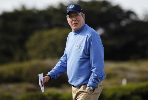 Former Florida Governor Jeb Bush at the National Pro-Am golf tournament in Pebble Beach, in California, February 6, 2014. REUTERS/Michael Fiala