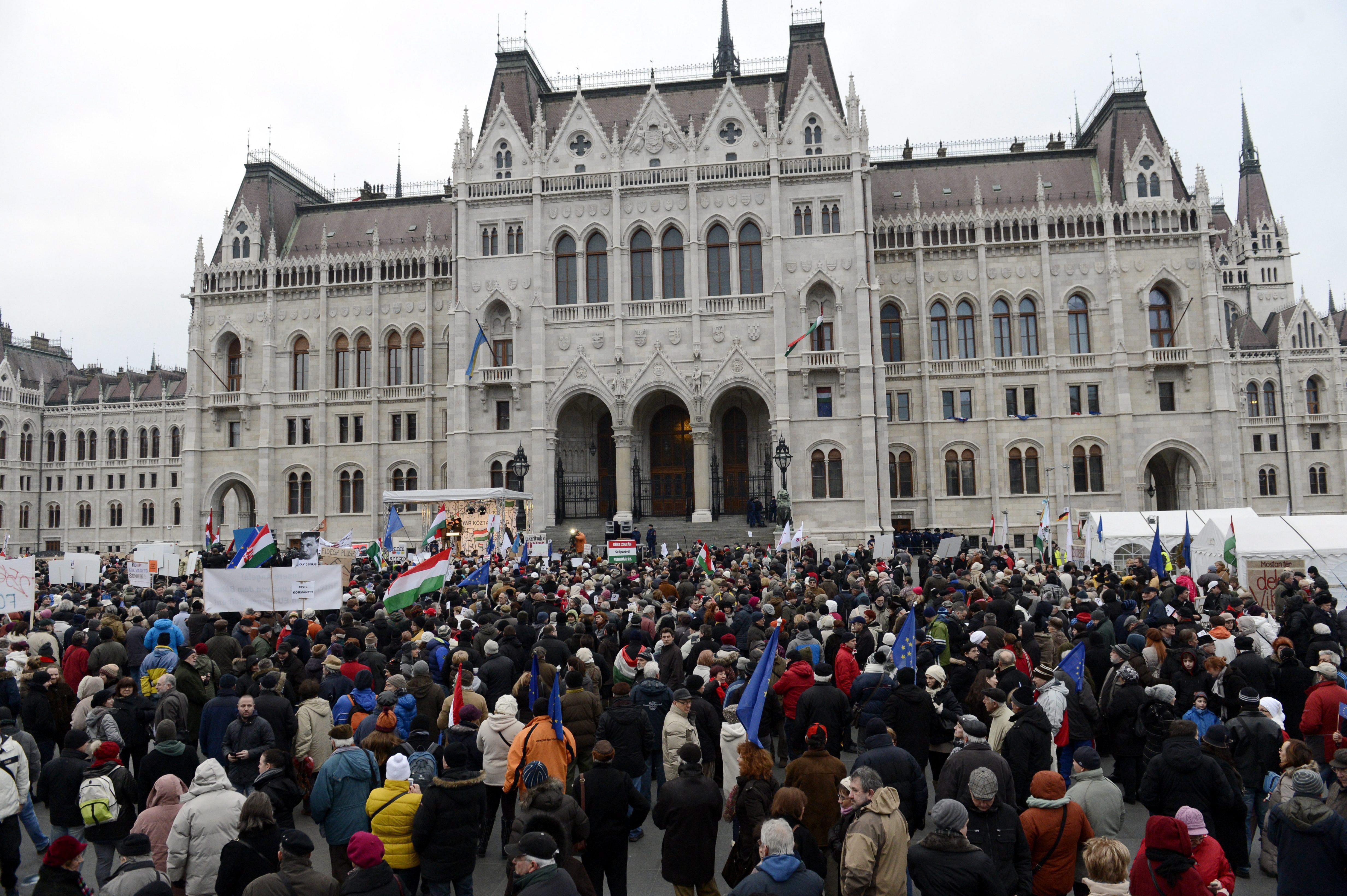 Budapest, Hungary - Hungarians Protest Against Premier's ...