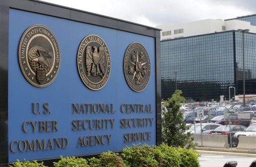 FILE - In this June 6, 2013, file photo, a sign stands outside the National Security Administration (NSA) campus in Fort Meade, Md. (AP Photo/Patrick Semansky, File)