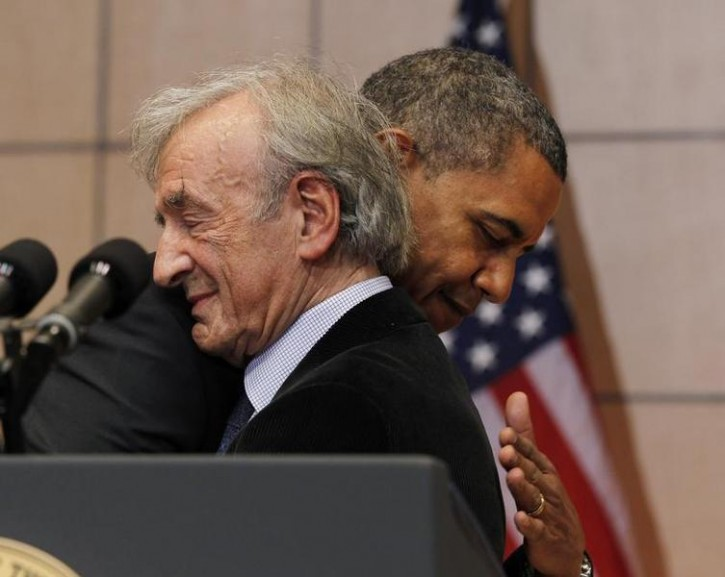 FILE - U.S. President Barack Obama hugs Nobel Laureate and Holocaust survivor Elie Wiesel after Wiesel introduced him to speak at the United States Holocaust Museum in Washington, April 23, 2012. Reuters