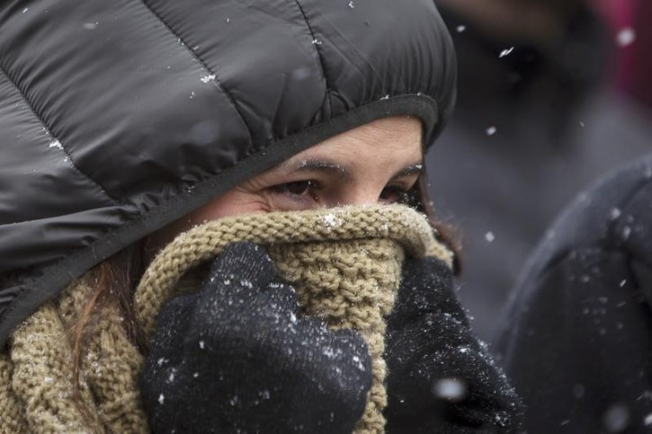 A woman holds a scarf over her face to keep warm as she waits in line outside the 139th Westminster Kennel Club Dog Show in the Manhattan borough of New York February 14, 2015. North-eastern United States is preparing for another storm and historically low temperatures in coming days.      REUTERS/Carlo Allegri