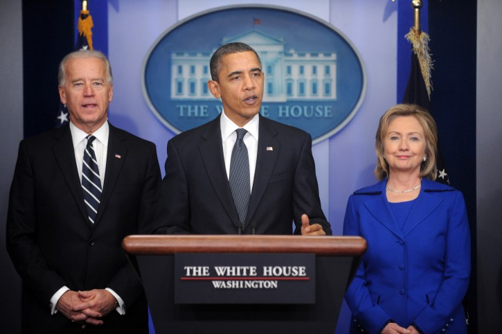 FILE - US President Barack Obama (C) delivers remarks beside US Vice President Joe Biden (L) and Former US Secretary of State Hillary Clinton (R), at the White House in Washington DC, USA, 16 December 2010. EPA