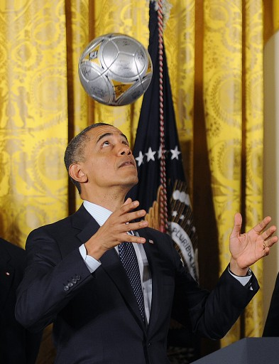 FILE - US President Barack Obama (C) juggles with a ball. EPA