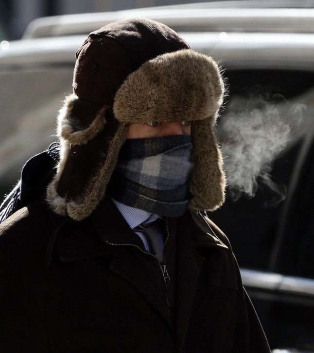 A pedestrians bundles up against freezing temperatures in New York, New York, USA, 19 February 2015. EPA