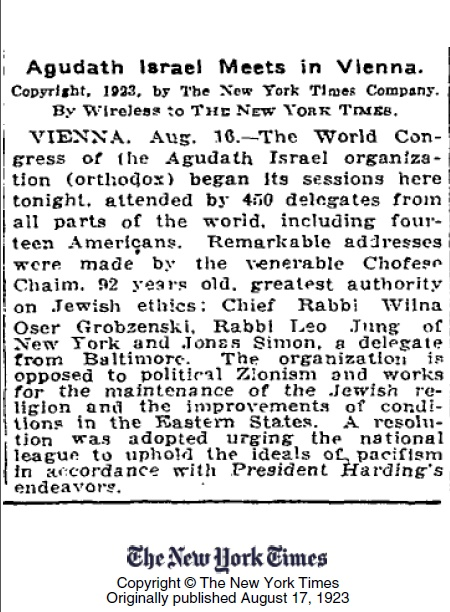 New York Times article dated August 16, 1923 reported the event