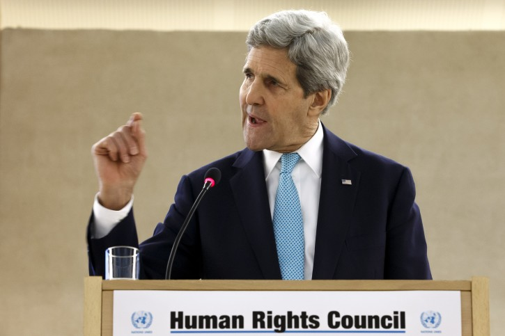 US Secretary of State John Kerry speaks at the High-Level Segment of the 28th session of the Human Rights Council, at the European headquarters of the United Nations in Geneva, Switzerland,, 02 March 2015. EPA/SALVATORE DI NOLFI